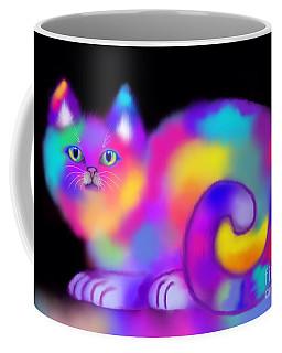 Coffee Mug featuring the digital art Rainbow Soft Kitty  by Nick Gustafson