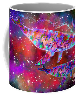 Coffee Mug featuring the painting Rainbow Spirit Whales by Nick Gustafson