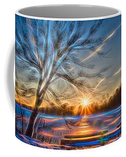 Rainbow Sunset On Snow Covered Lake Coffee Mug