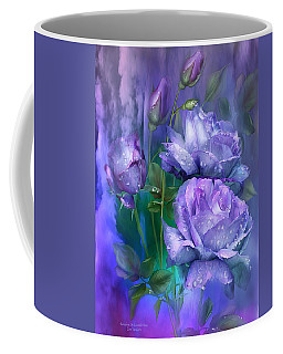 Raindrops On Lavender Roses Coffee Mug by Carol Cavalaris