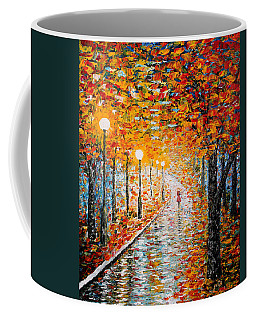 Coffee Mug featuring the painting Rainy Autumn Day Palette Knife Original by Georgeta  Blanaru