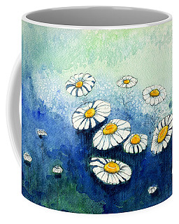 Coffee Mug featuring the painting Rainy Daisies by Katherine Miller