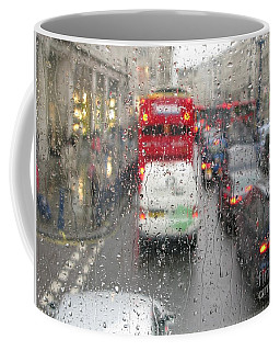 Rainy Day London Traffic Coffee Mug by Ann Horn