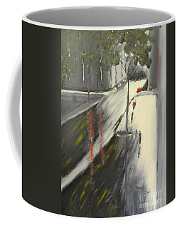 Coffee Mug featuring the painting Rainy Street In Melbourne by Pamela  Meredith
