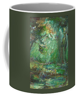 Coffee Mug featuring the painting Rainy Woods by Mary Wolf