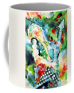 Randy Rhoads Playing The Guitar - Watercolor Portrait Coffee Mug