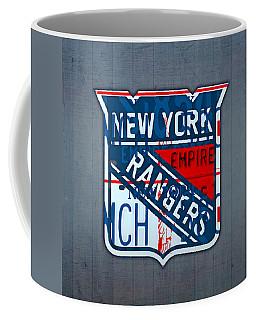 Rangers Original Six Hockey Team Retro Logo Vintage Recycled New York License Plate Art Coffee Mug