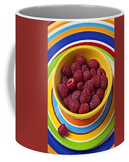 Raspberries In Yellow Bowl On Plate Coffee Mug