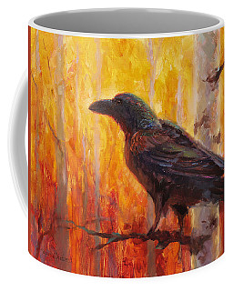 Raven Glow Autumn Forest Of Golden Leaves Coffee Mug by Karen Whitworth