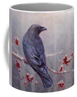 Raven In The Stillness - Black Bird Or Crow Resting In Winter Forest Coffee Mug by Karen Whitworth