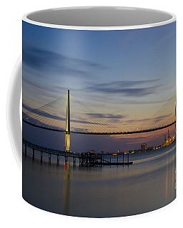 Coffee Mug featuring the photograph Ravenel Bridge Nightfall by Dale Powell