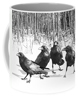 Ravens By The Edge Of The Woods In Winter Coffee Mug