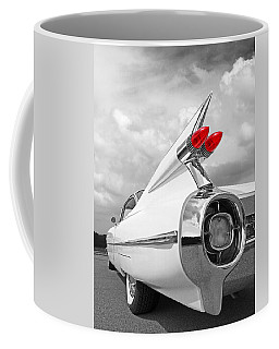 Reach For The Skies - 1959 Cadillac Tail Fins Black And White Coffee Mug