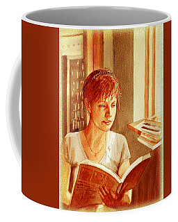 Coffee Mug featuring the painting Reading A Book Vintage Style by Irina Sztukowski