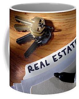 Real Estate File Folder With Marker And House Keys Coffee Mug