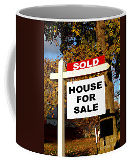 Real Estate Sold And House For Sale Sign On Post Coffee Mug