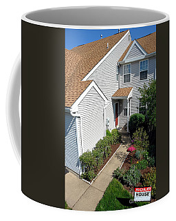 Real Estate Sold Sign And House View From Above Coffee Mug