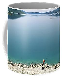 Rear View Of A Person Fishing Coffee Mug