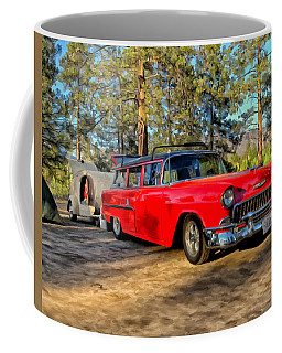 Coffee Mug featuring the painting Red '55 Chevy Wagon by Michael Pickett