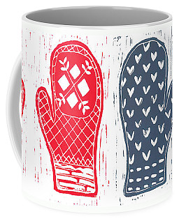 Red And Blue Nordic Mittens Coffee Mug