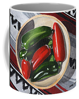 Coffee Mug featuring the painting Red And Green Peppers by Laura Forde
