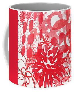 Red And White Bouquet- Abstract Floral Painting Coffee Mug