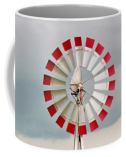 Coffee Mug featuring the photograph Red And White Windmill by Cynthia Guinn