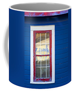 Red And White Window In Blue Wall Coffee Mug
