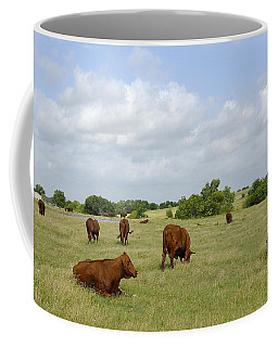Coffee Mug featuring the photograph Red Angus Cattle by Charles Beeler