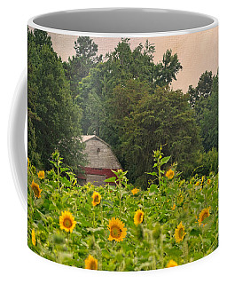 Red Barn Among The Sunflowers Coffee Mug