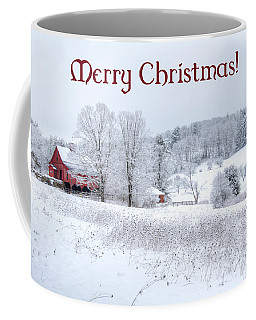 Red Barn Christmas Card Coffee Mug