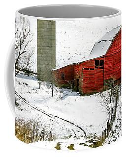 Red Barn In Snow Coffee Mug