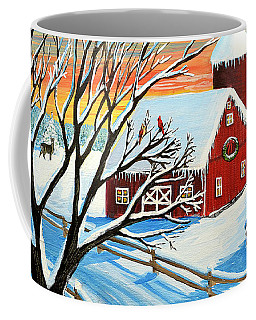 Coffee Mug featuring the painting Red Barn In Winter by Patricia L Davidson