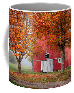 Coffee Mug featuring the photograph Red Barn With White Barn Door by Jeff Folger