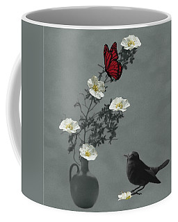 Red Butterfly In The Eyes Of The Blackbird Coffee Mug