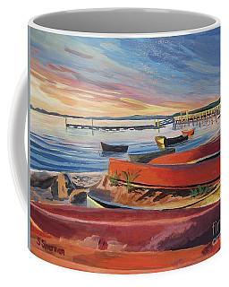 Red Canoe Sunset Coffee Mug