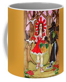 Coffee Mug featuring the painting The Little Riding Hood And The Wolf In Chucks by Don Pedro De Gracia