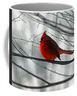Red Cardinal On Winter Branch  Coffee Mug