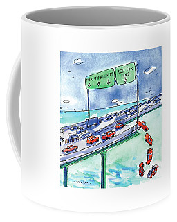 Red Cars Drop Off A Bridge Under A Sign That Says Coffee Mug by Michael Crawford