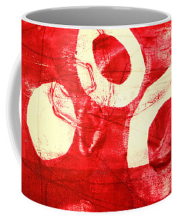 Coffee Mug featuring the painting Red Circles Abstract by Nancy Merkle