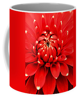 Coffee Mug featuring the photograph Red Dahlia With White Tips by E Faithe Lester