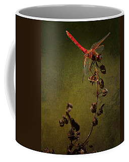 Red Dragonfly On A Dead Plant Coffee Mug