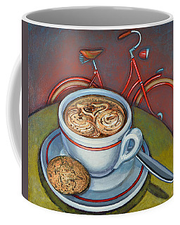 Red Dutch Bicycle With Cappuccino And Amaretti Coffee Mug