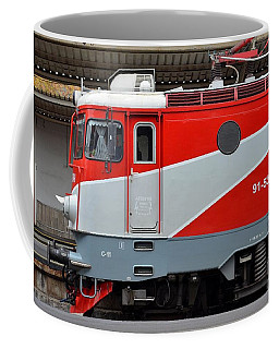 Coffee Mug featuring the photograph Red Electric Train Locomotive Bucharest Romania by Imran Ahmed