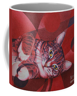 Coffee Mug featuring the painting Red Feline Geometry by Pamela Clements