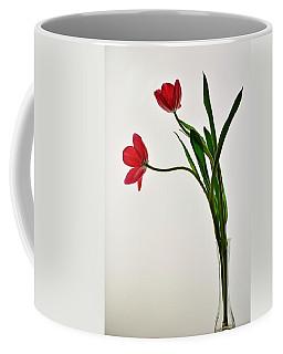 Red Flowers In Glass Vase Coffee Mug