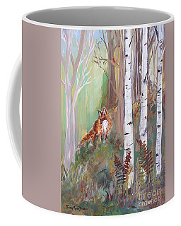 Red Fox And Cardinals Coffee Mug