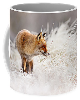 Red Fox And Hoar Frost _ The Catcher In The Rime Coffee Mug by Roeselien Raimond