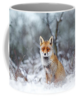 Red Fox Blue World Coffee Mug by Roeselien Raimond