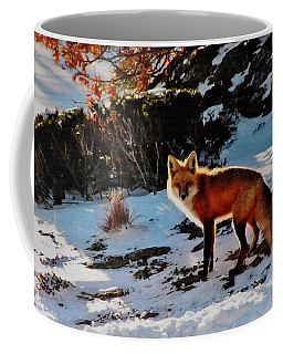 Coffee Mug featuring the photograph Red Fox In Winter by Diane Alexander